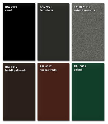 Barevnice standartních odstínů kovových plotů dle stupnice RAL